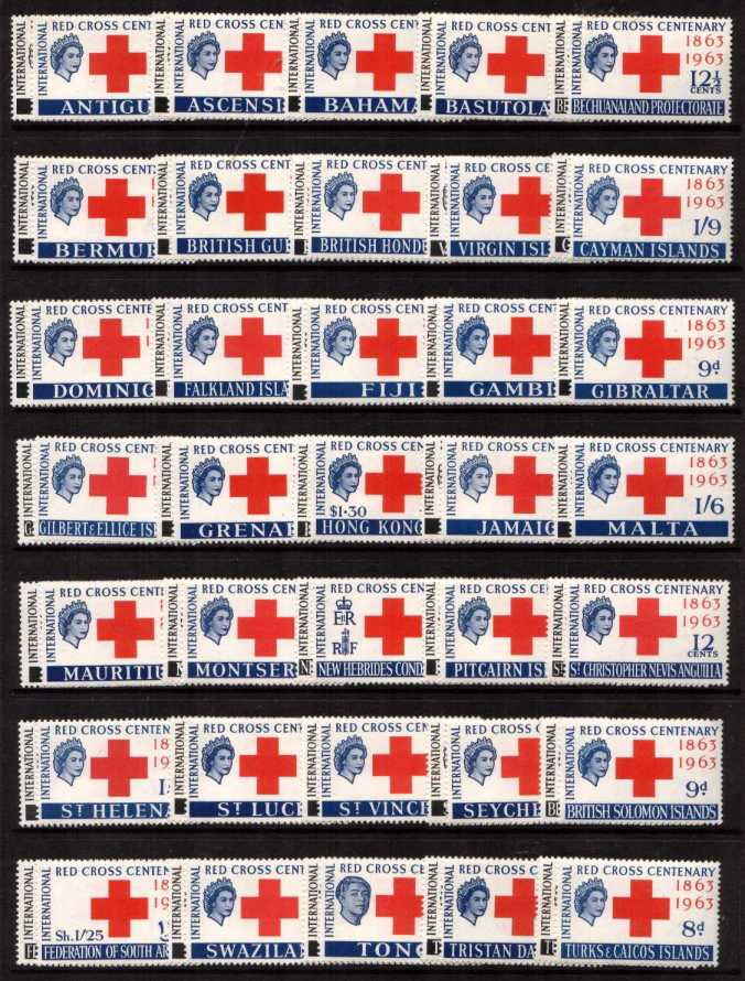 Red Cross<br/>Crown Colonies - set of 35 Countries - 70 stamps in total superb unmounted mint.<br/><b>ZFZ</b>