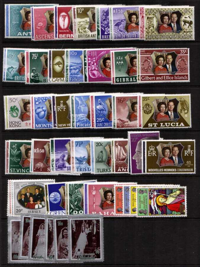 Royal Silver Wedding<br/>Set of 36 Countries - 78 Stamps all superb unmounted mint.