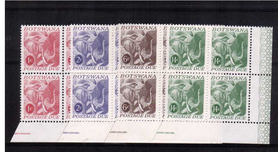 African Elephant - Postage Due set of four superb unmounted mint corner blocks of four.<br/><br/>