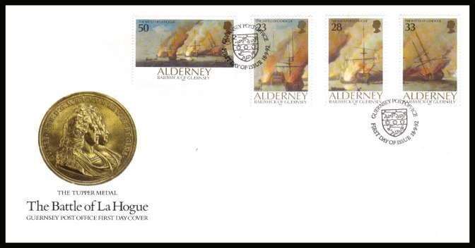 300th Anniversary  of the Battle of La Hogueset of four on unaddressed illustrated First Day Cover with special cancel.