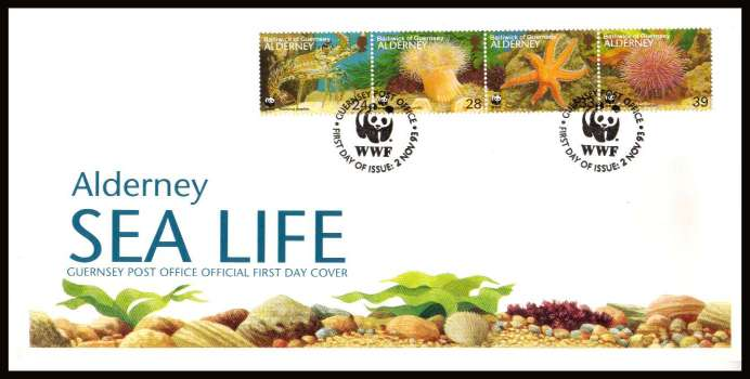 Sea Life strip of four on unaddressed illustrated First Day Cover with special cancel.