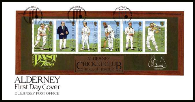 150th Anniversary of Cricket on Alderney minisheet on unaddressed illustrated First Day Cover with special cancel.