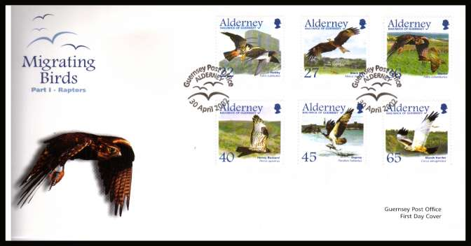 Migrating Birds - 1st series -  Raptors set of six on unaddressed illustrated First Day Cover with special cancel.