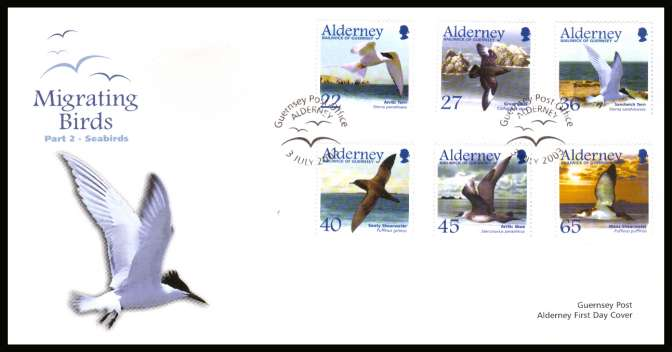 Migrating Birds - 2nd series -  Seabirds set of six on unaddressed illustrated First Day Cover with special cancel.