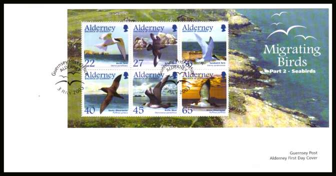Migrating Birds - 2nd series -  Seabirds minisheet  on unaddressed plain but official  First Day Cover with special cancel.