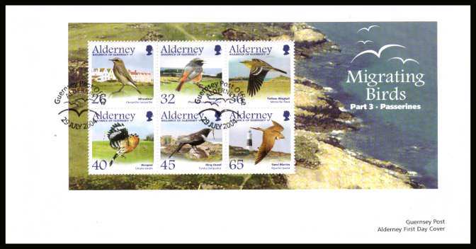 Migrating Birds - 3rd series - Passerines minisheet on unaddressed plain but official First Day Cover with special cancel.
