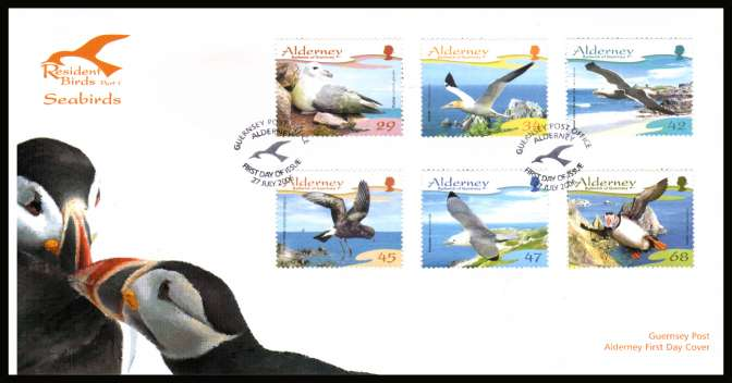 Resident Seabirds - 1st Series - set of six on unaddressed illustrated First Day Cover with special cancel.