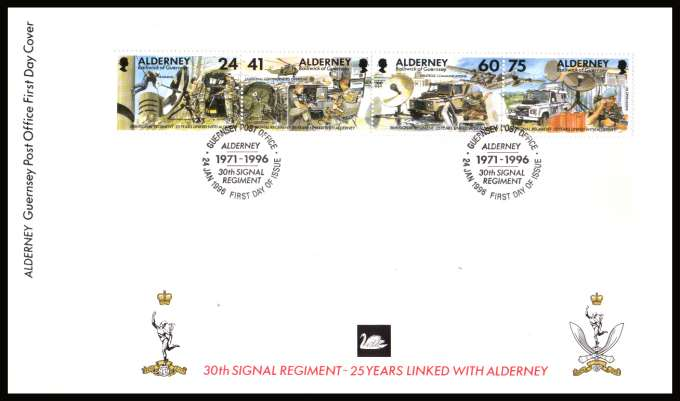 25th Anniv of Adoption of 30th Signal Regiment by Alderney strip of four on unaddressed illustrated First Day Cover with special cancel.