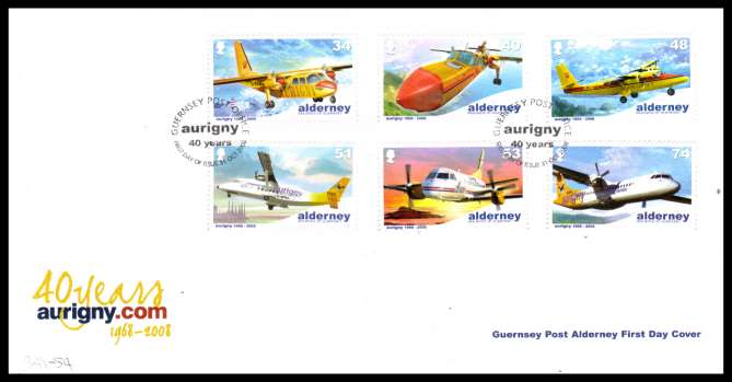 Aurigny Air Services Aircraft set of six  on unaddressed illustrated First Day Cover with special cancel.