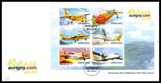 Aurigny Air Services Aircraft minisheet on unaddressed illustrated First Day Cover with special cancel.