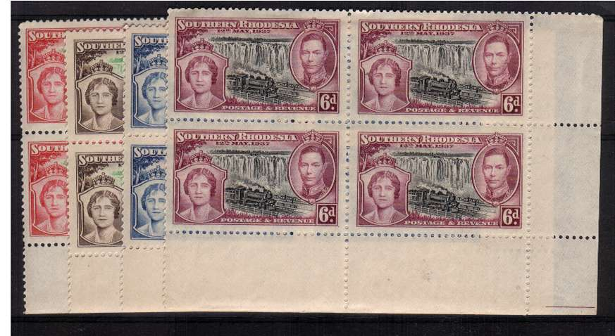 The Coronation set of four in superb unmounted mint corner blocks of four.<br/><b>ZHZ</b>