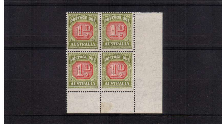 The 1d Carmine and Green Postage Due in a superb unmounted mint SE corner block of four.