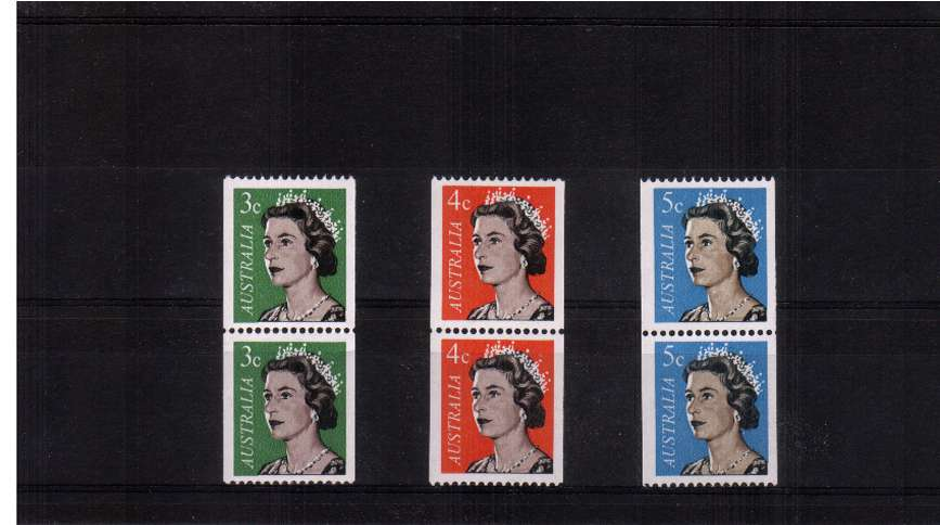 Queen's Head coils set of three in vertical pairs - unmounted mint on lower stamps