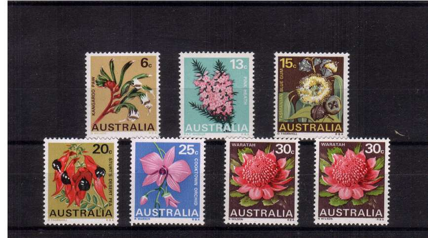 State Floral Emblems set of six plus the additional 30c Type II superb unmounted mint.