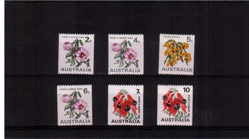Flowers coils stamps set of six lightly mounted mint
