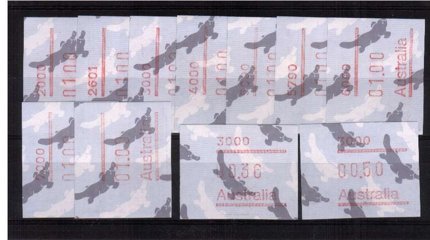 $1 FRAMA set of nine plus 36c and 50c superb unmounted mint<br/>Issue Date: 25 AUG 1986