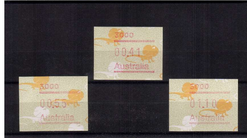 Lizard FRAMA set of  three superb unmounted mint<br/>Issue Date: 1 SEPT 1989[