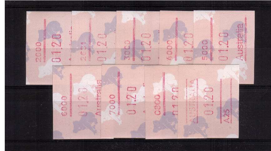 $1.20 Koala Bear FRAMA set of nine superb unmounted mint<br/>Issue Date: 3 SEPT 1990