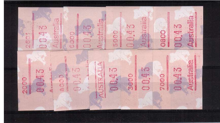 43c Koala Bear FRAMA set of nine superb unmounted mint<br/>Issue Date: 3 SEPT 1990