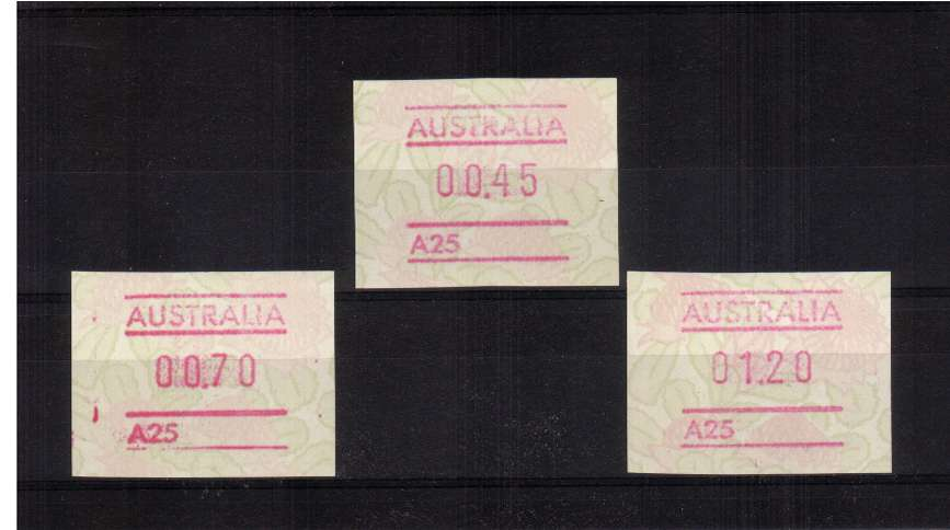 Waratah FRAMA set of three superb unmounted mint<br/>Issue Date: 8 SEPT 1994