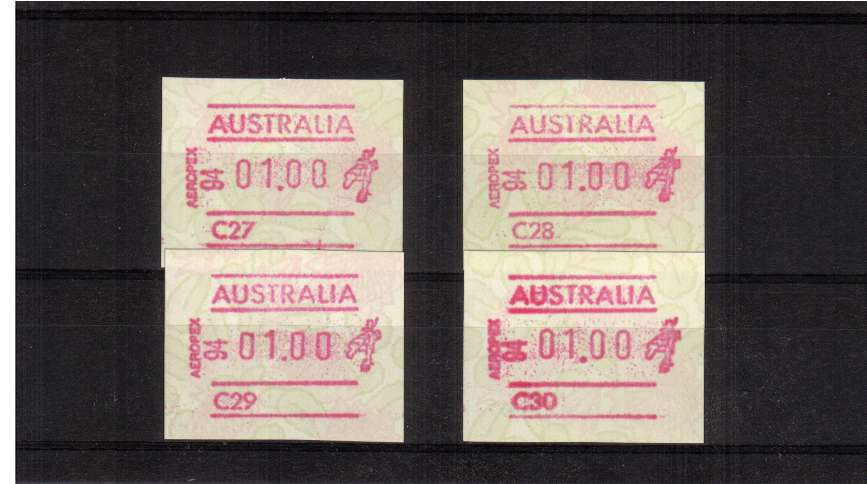 Waratah FRAMA set of four with AEROPEX imprint superb unmounted mint<br/>Issue Date: 18 NOV 1994