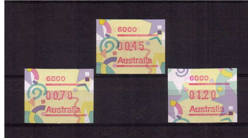 Festive FRAMA Postcode set of three superb unmounted mint<br/>Issue Date: 6 JUNE 1996