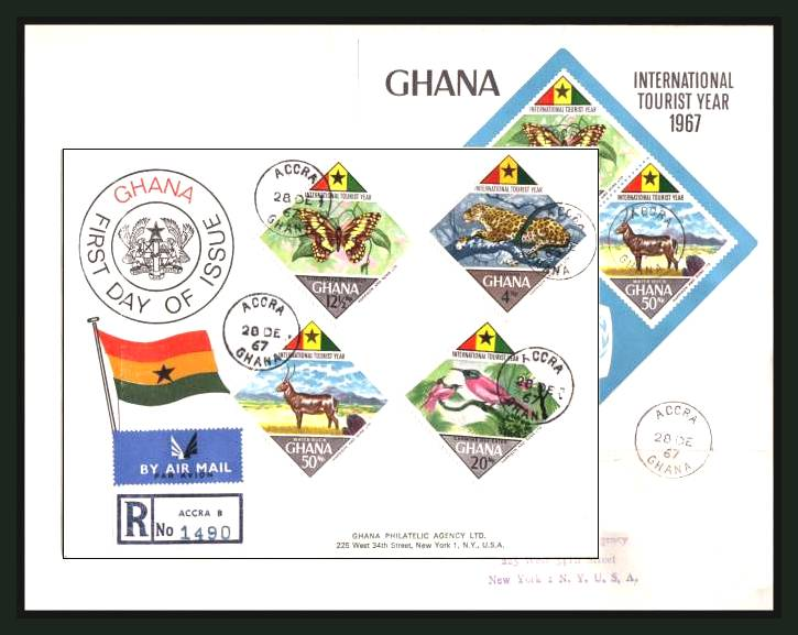 The International Tourist Year set of four stamps and minisheet on two First Day Covers<br/>(one laid on the other for the purpose of scanning here)<br/>A scare set fine used and especially scarce on FDC.<br/>SG Cat for used soaked off �.00