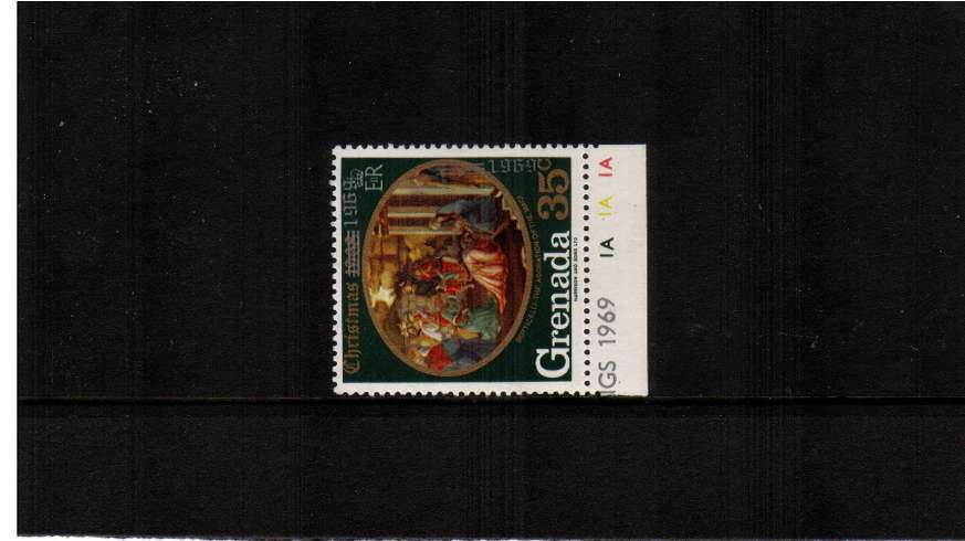 The Christmas issue 35c stamp with OVERPRINT DOUBLE, ONE VERTICAL.<br/>A superb unmounted mint lower marginal stamp.