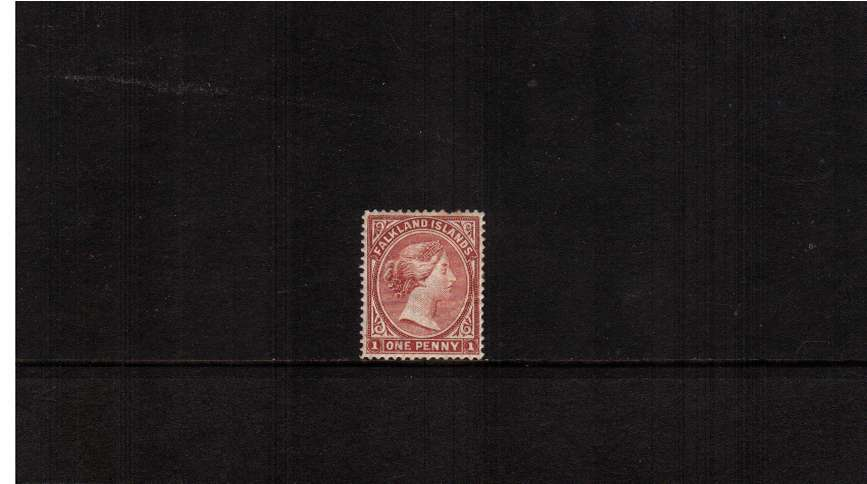 1d Dull Claret - Watermark Crown CA Upright<br/>A mounted mint stamp with excellent centering and colour showing a bent<br/>perforating pin at top (it is not a damaged stamp!) SC Cat �5 