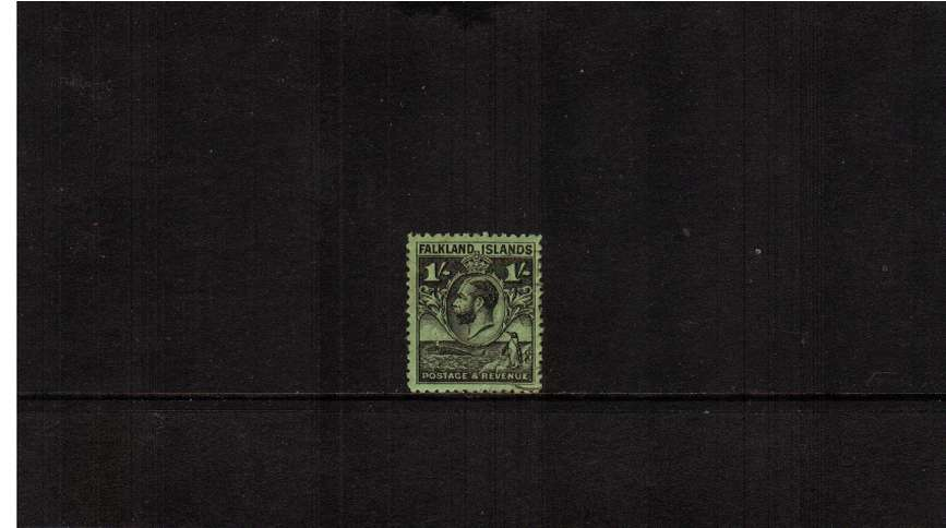 ''Penguin & Whale'' 1/- Black on Bright Emerald - Line Perforation<br/>A superb very fine used single