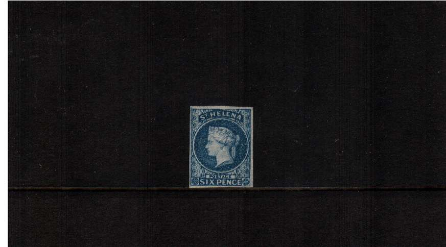 The 6d Blue Imperforate. A lovely four margined stamp lightly mounted mint with much gum. SG Cat �0