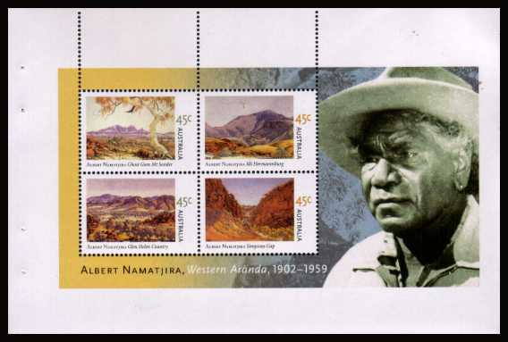 Albert Namatjira - Artist set of five booklet panes from the booklet - one pane only is illustrated