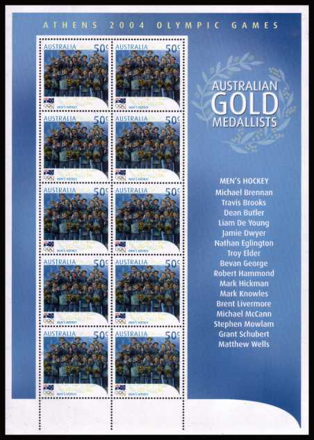 Australian Gold Medal Winners at Athens<br/>The complete set of seventeen in special sheetlets of ten superb unmounted mint.<br/>Note only one sheet is shown here
