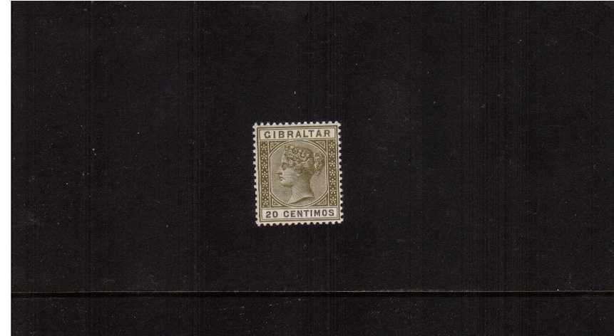 20c Olive-Green and Brown. A superb unmounted mint single.<br/>A difficult stamp to find unmounted mint. 