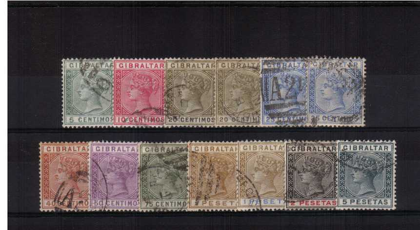 A fine used set of twelve with the bonus of the SG listed shade on the 25c