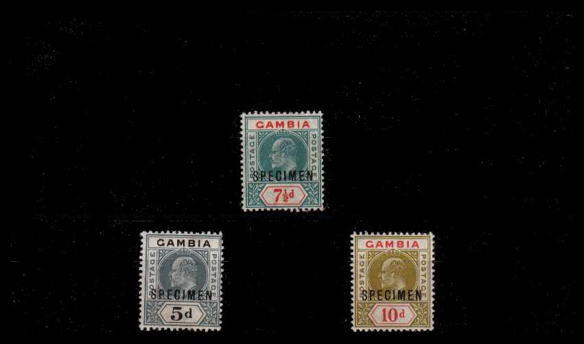 A good lightly mounted mintcomplete ''SPECIMEN'' set of three. Feint gum crease on the 7絛 value mentioned for accuracy. <br/><b>AQG</b>