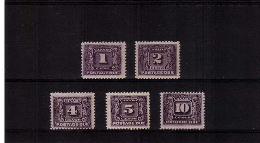 The first Postage Due set of five superb unmounted mint.<br/>A rare set to find unmounted!