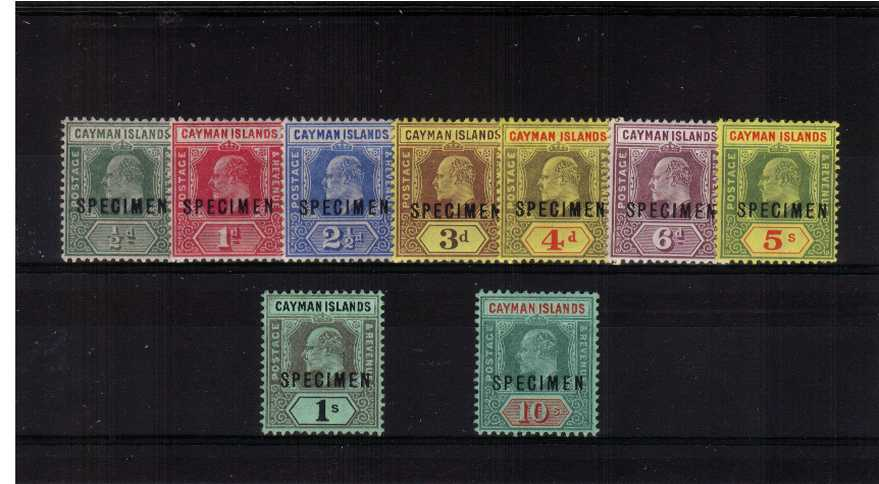 The Edward 7th set of nine overprinted ''SPECIMEN''.<br/>A fine and fresh lightly mounted mint set.<br/>Please note there is no SG 31s as it was never issued! 