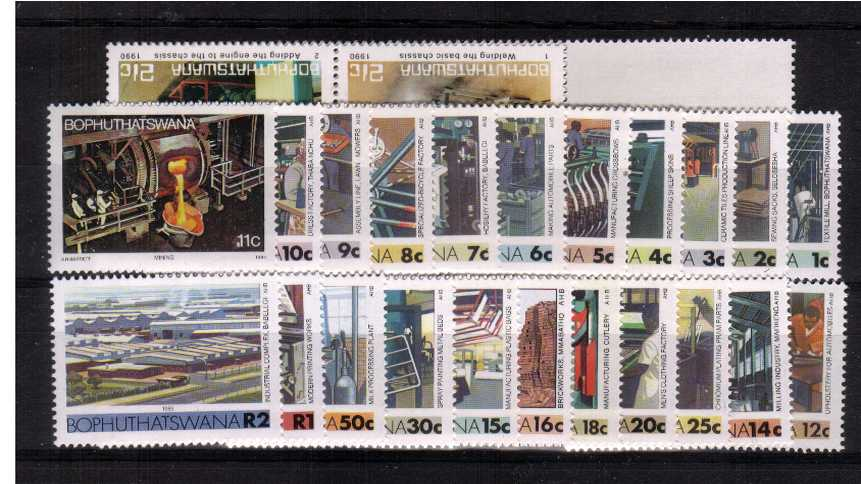 The ''Industries'' complete set of twenty-seven (including the Busses strip of five) superb unmounted mint.  