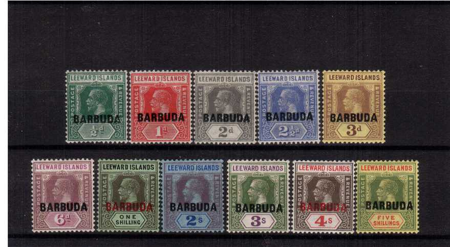 The ''BARBUDA'' overprint on LEEWARD ISLANDS set of eleven<br/> fine, very lightly mounted mint.