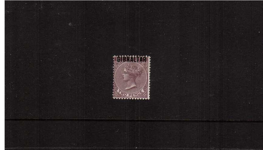 The 2d Purple-Brown of ''BERMUDA'' overprinted ''GIBRALTAR''.<br/>A fine, very fresh lightly mounted mint single.