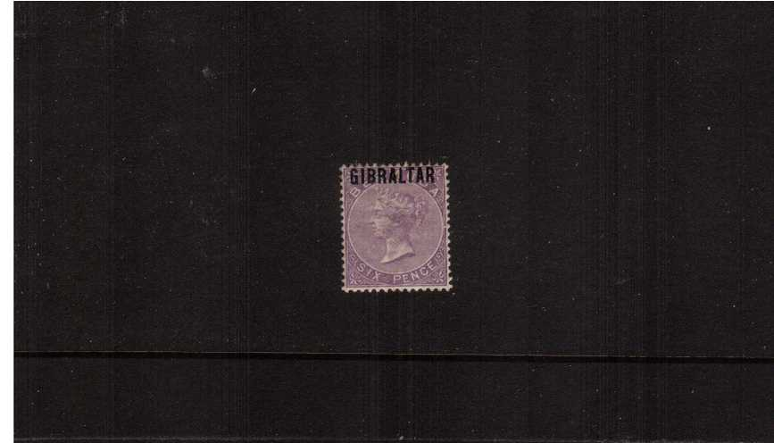 The 6d Deep Lilac of ''BERMUDA'' overprinted ''GIBRALTAR''.<br/>
