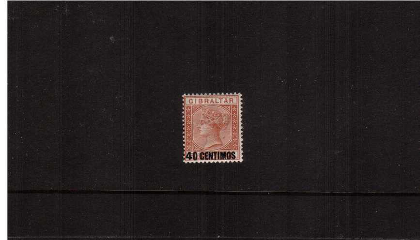The 40c on 4d Orange-Brown Spanish currency overprint single.<br/>A fine lightly mounted mint single.