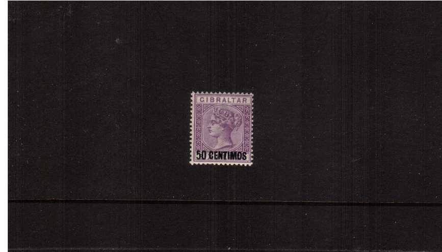 The 50c on 6d Bright Lilac Spanish currency overprint single.<br/>A fine lightly mounted mint single.