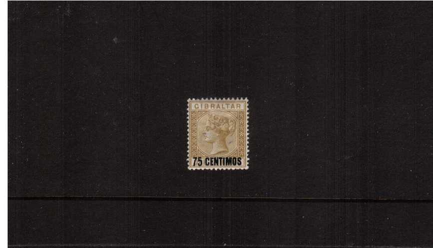 The 75c on 1/- Bistre Spanish currency overprint single.<br/>A fine lightly mounted mint single.
