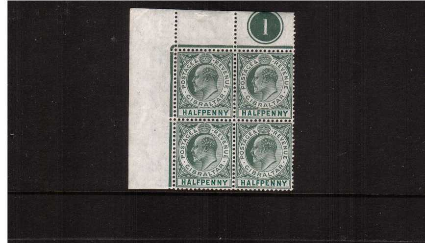 ½d Dull Green and Bright Green - Watermark Multiple Crown ''CA'' - on Chalky Paper<br/>A superb unmounted mint NW plate number block of four,