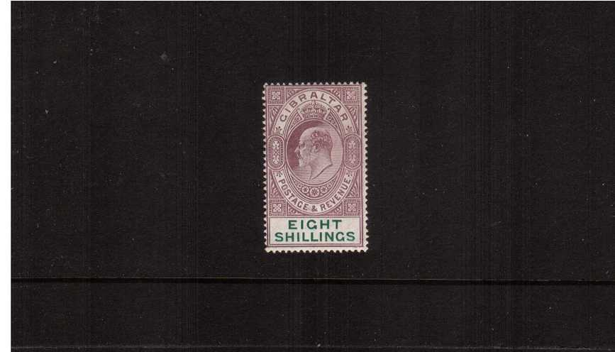 8/- Purple and Green - Watermark Multiple Crown ''CA'' - A superb lightly mounted mint single.