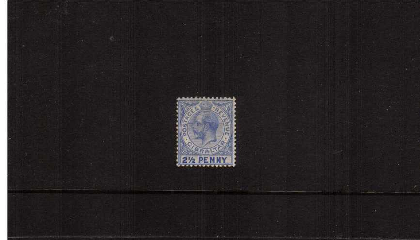 2½d Deep Bright Blue lightly mounted mint single<br/>showing the illustrated lSG listed variety ''large 2 in 2½d''