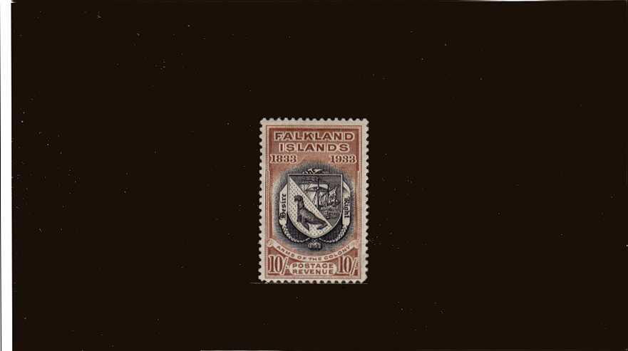 Centenary of British Administration<br/>10/- Black and Chestnut a good mounted mint example with a hint of a very very tiny thin spot in the hinge area mentioned for accuracy. - you will have to look hard to see it! SG Cat �0