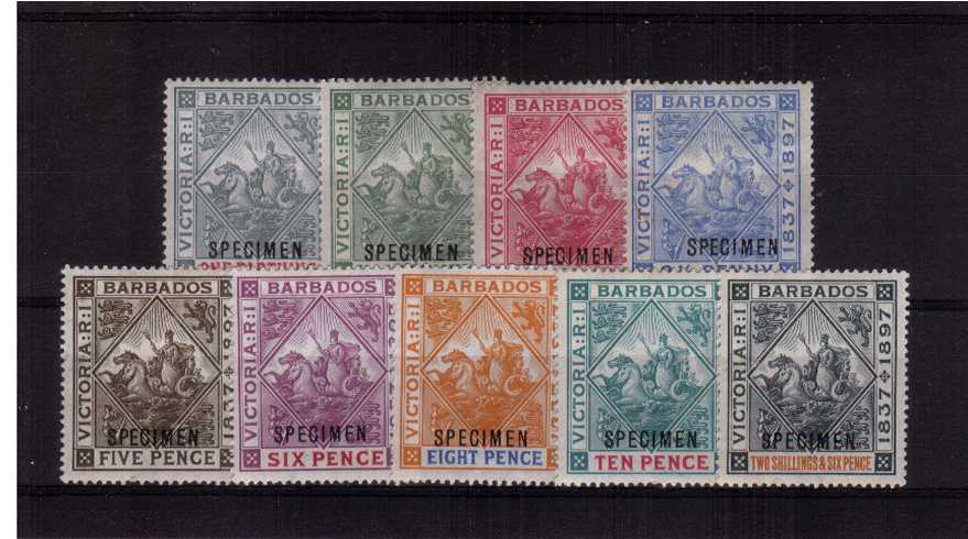 The Diamond Jubilee set of nine overprined ''SPECIMEN''. A very fine and fresh set lightly mounted mint with several being unmounted mint! 